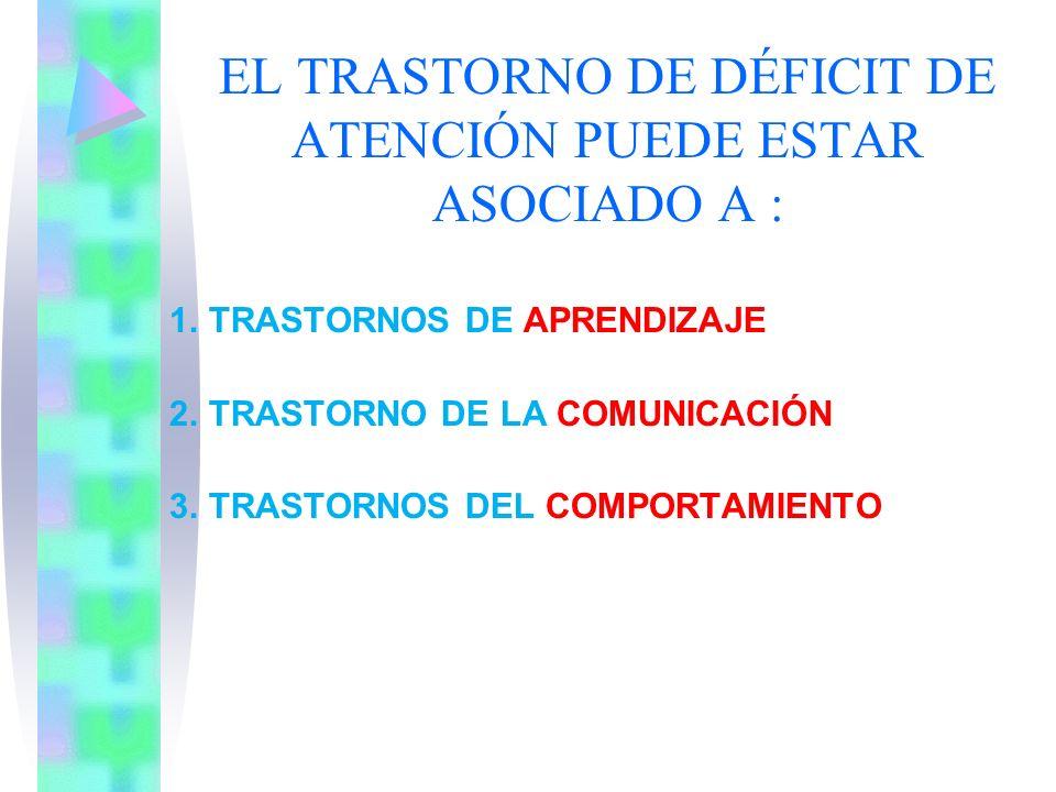 EL TRASTORNO DE DÉFICIT DE ATENCIÓN PUEDE ESTAR ASOCIADO A :