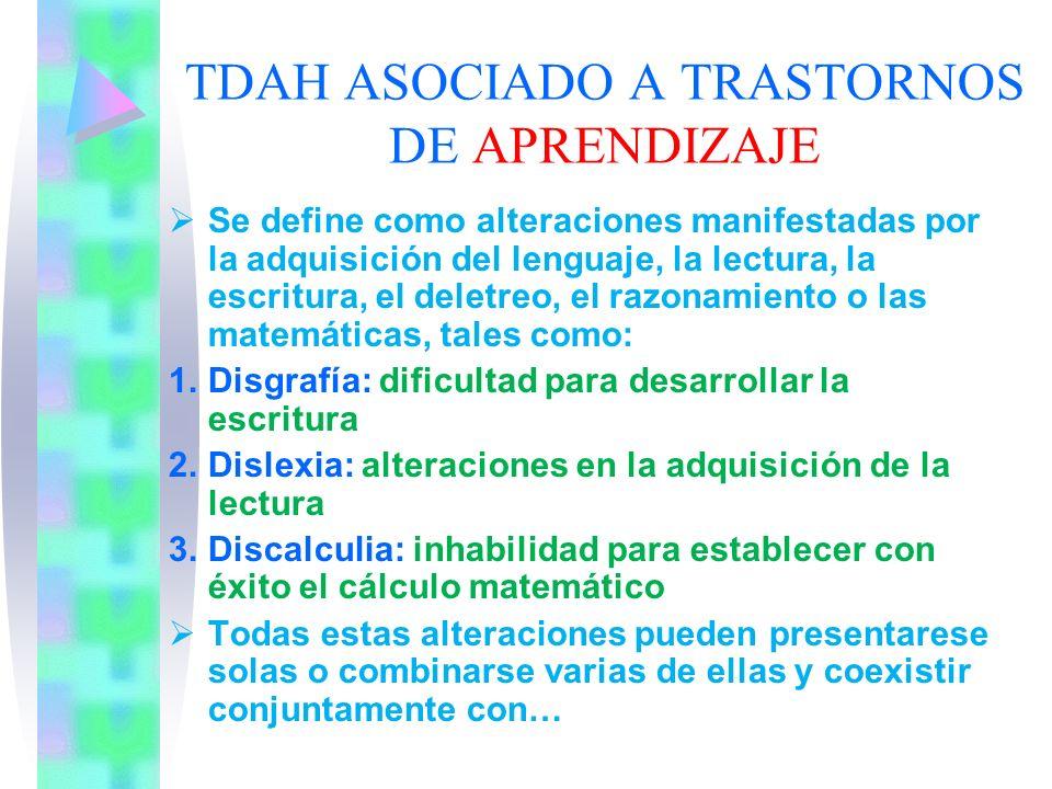 TDAH ASOCIADO A TRASTORNOS DE APRENDIZAJE
