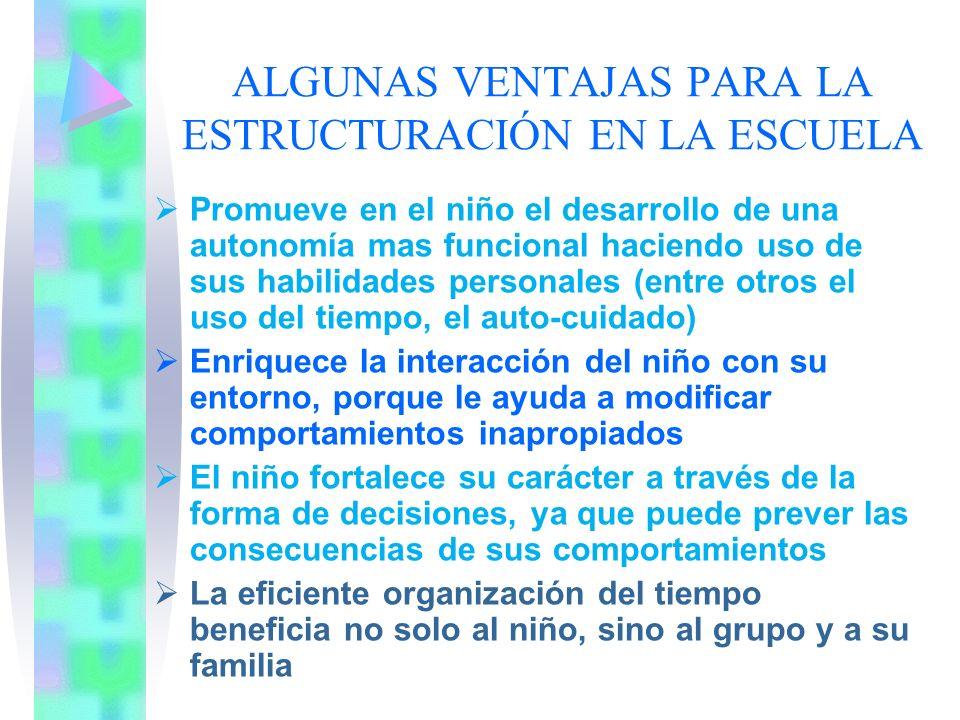 ALGUNAS VENTAJAS PARA LA ESTRUCTURACIÓN EN LA ESCUELA