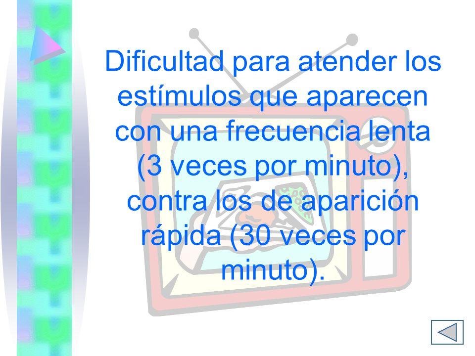 Dificultad para atender los estímulos que aparecen con una frecuencia lenta (3 veces por minuto), contra los de aparición rápida (30 veces por minuto).