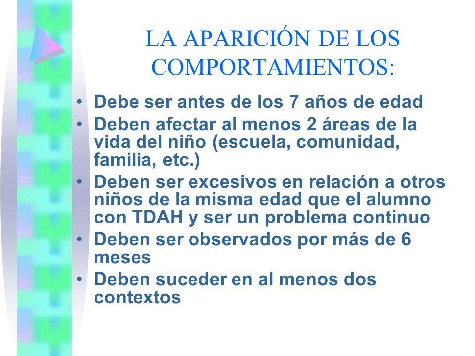 LA APARICIÓN DE LOS COMPORTAMIENTOS: