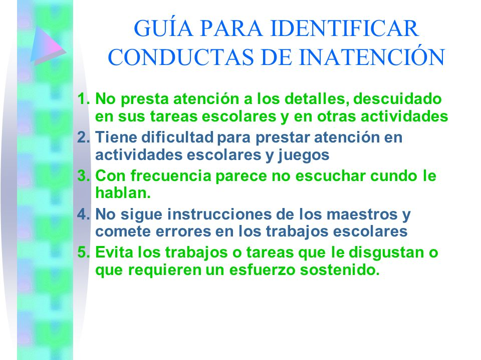 GUÍA PARA IDENTIFICAR CONDUCTAS DE INATENCIÓN