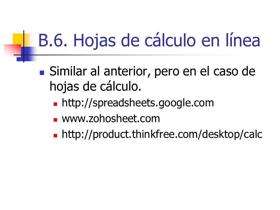 B.6. Hojas de cálculo en línea