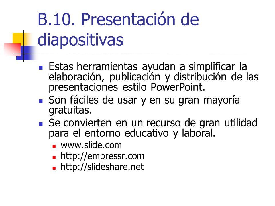 B.10. Presentación de diapositivas