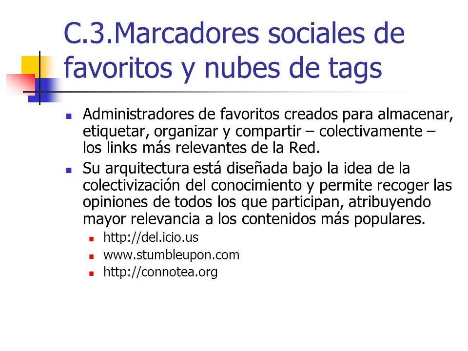 C.3.Marcadores sociales de favoritos y nubes de tags