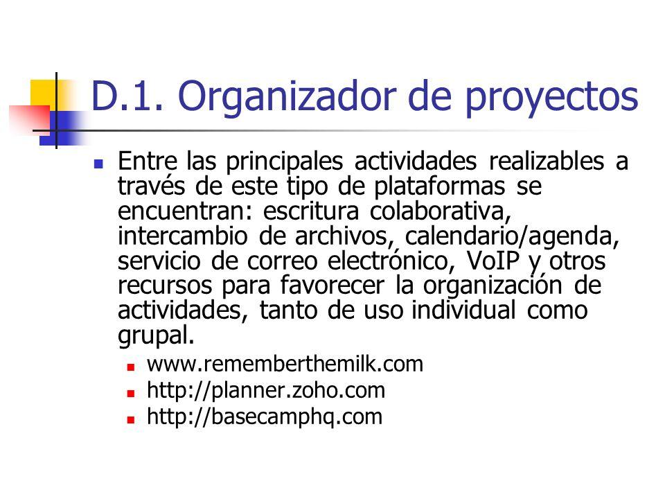 D.1. Organizador de proyectos