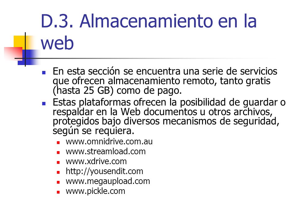 D.3. Almacenamiento en la web
