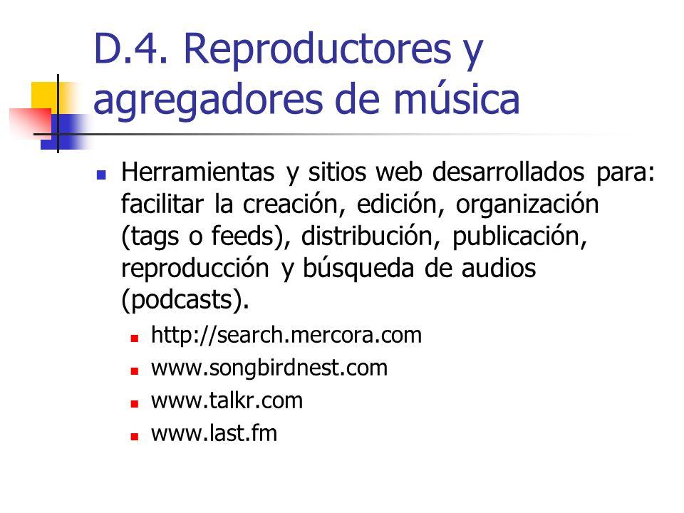 D.4. Reproductores y agregadores de música