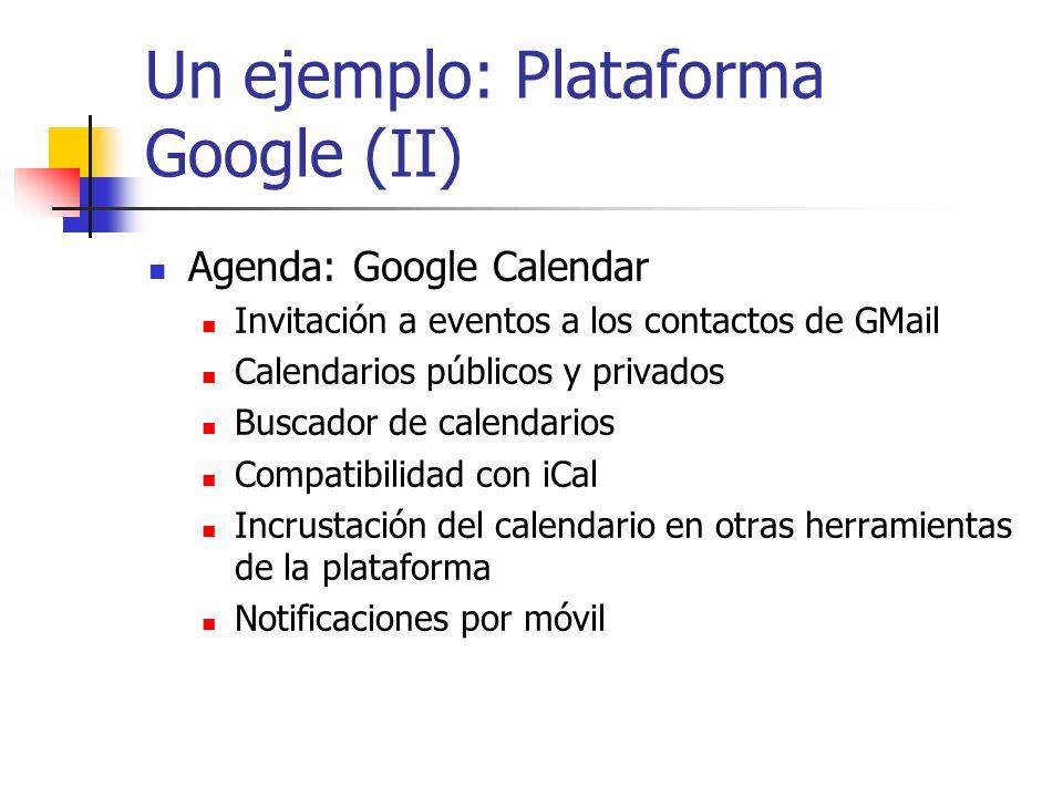 Un ejemplo: Plataforma Google (II)