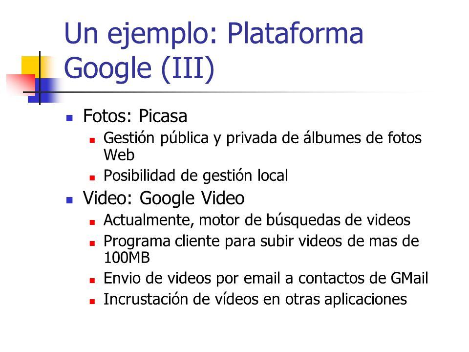 Un ejemplo: Plataforma Google (III)