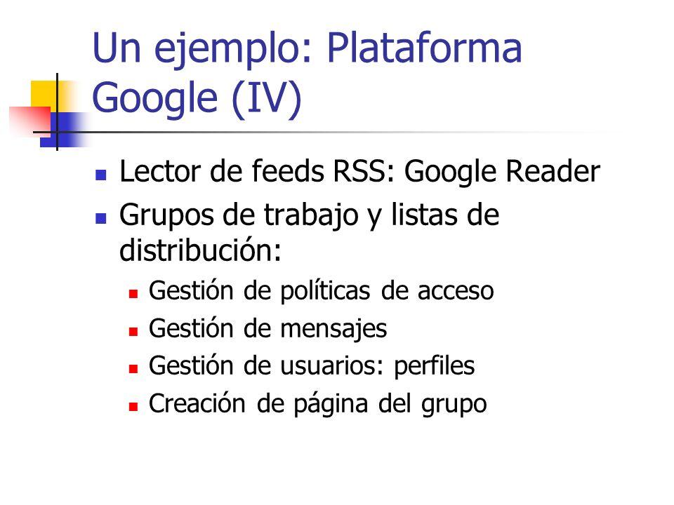 Un ejemplo: Plataforma Google (IV)