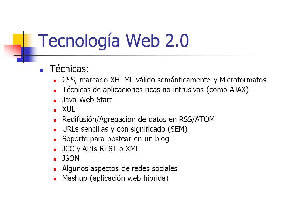Tecnología Web 2.0 Técnicas: