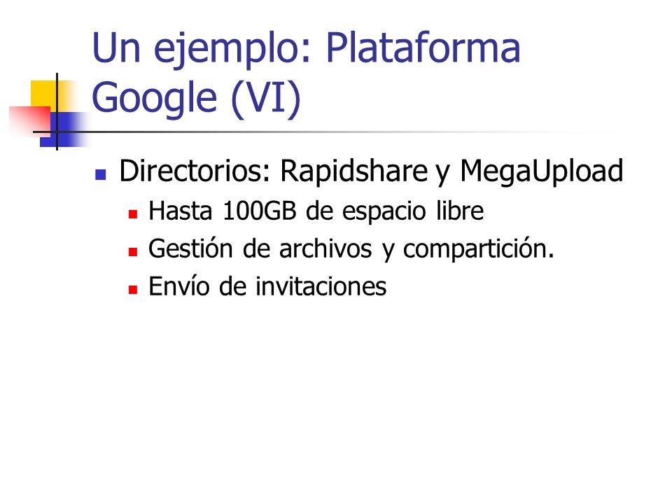 Un ejemplo: Plataforma Google (VI)