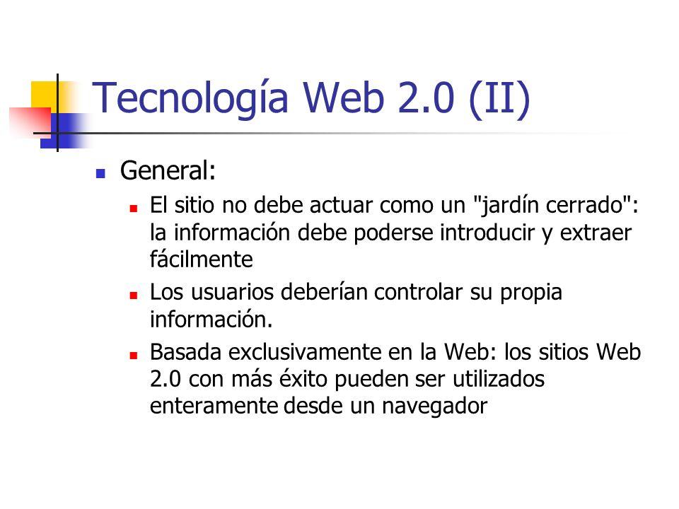 Tecnología Web 2.0 (II) General: