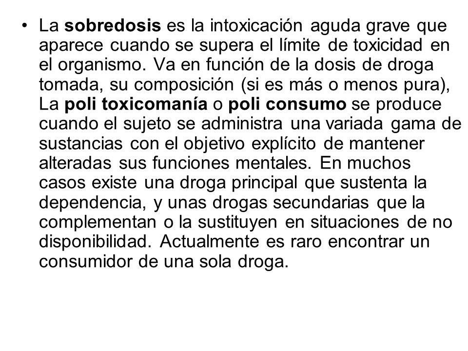 La sobredosis es la intoxicación aguda grave que aparece cuando se supera el límite de toxicidad en el organismo.