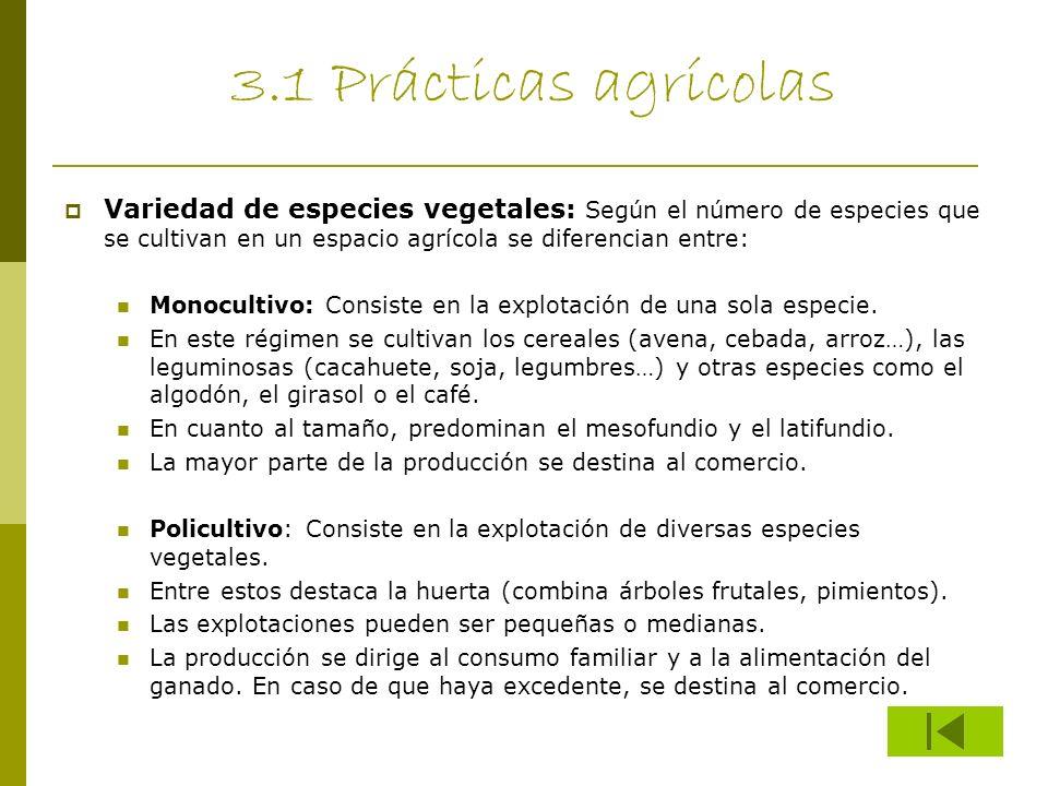 3.1 Prácticas agrícolas Variedad de especies vegetales: Según el número de especies que se cultivan en un espacio agrícola se diferencian entre: