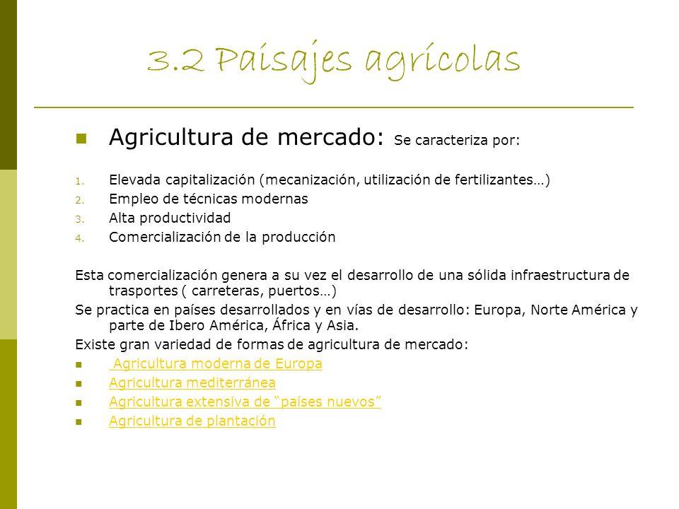 3.2 Paisajes agrícolas Agricultura de mercado: Se caracteriza por: