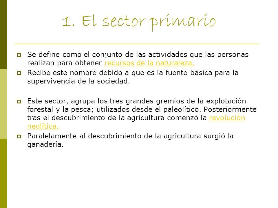 1. El sector primario Se define como el conjunto de las actividades que las personas realizan para obtener recursos de la naturaleza.