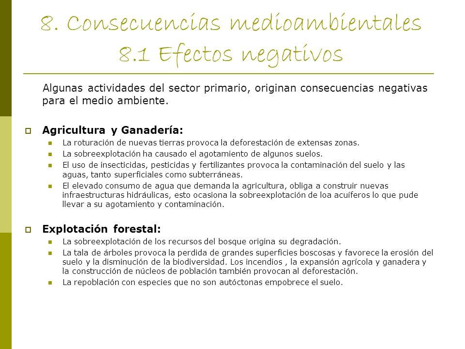 8. Consecuencias medioambientales 8.1 Efectos negativos