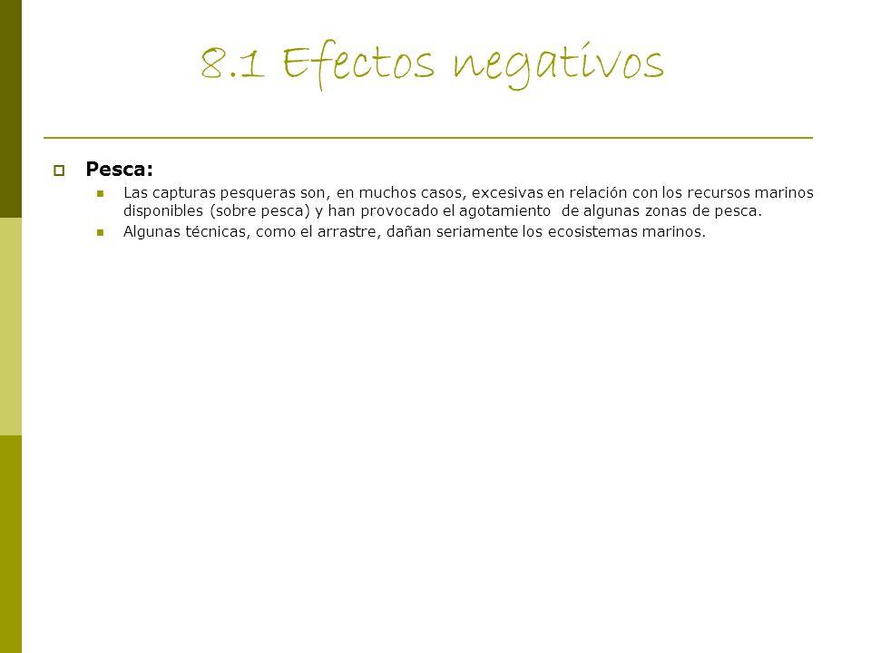 8.1 Efectos negativos Pesca: