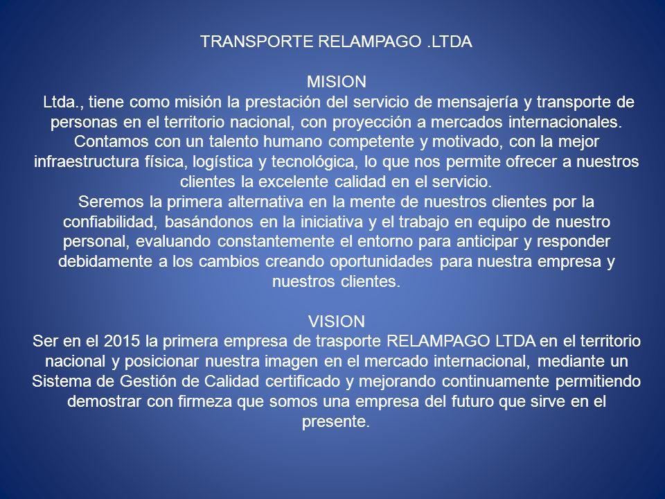 TRANSPORTE RELAMPAGO .LTDA