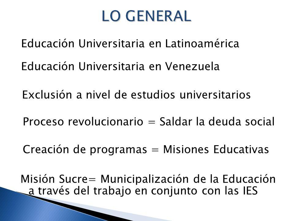 LO GENERAL Educación Universitaria en Latinoamérica
