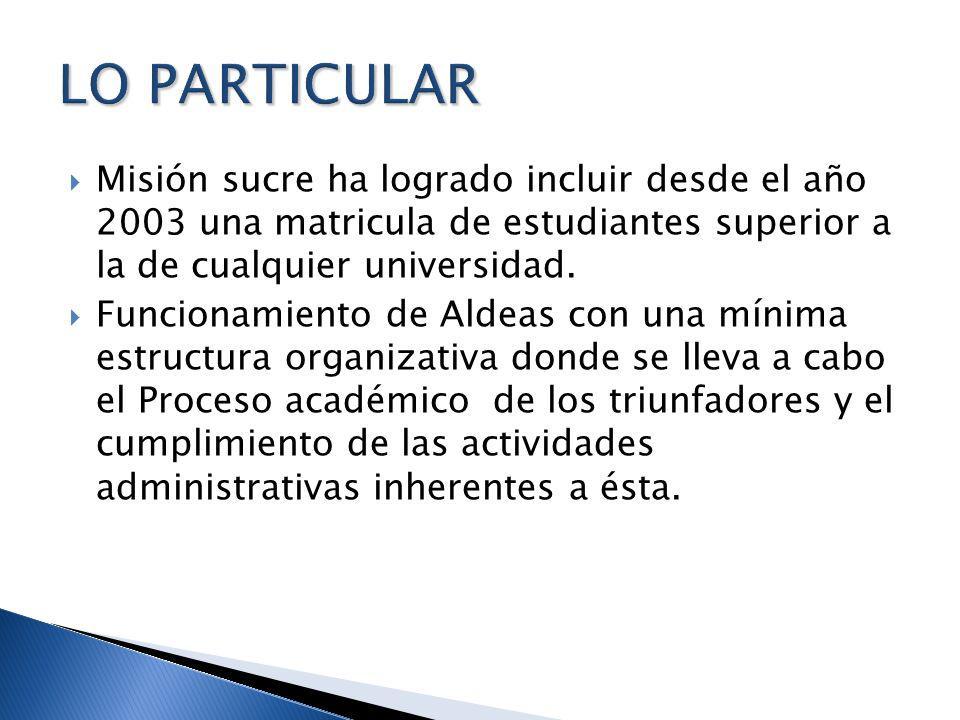 LO PARTICULAR Misión sucre ha logrado incluir desde el año 2003 una matricula de estudiantes superior a la de cualquier universidad.