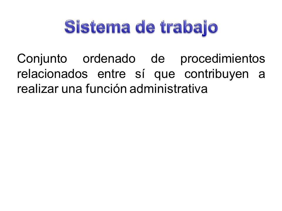 Sistema de trabajo Conjunto ordenado de procedimientos relacionados entre sí que contribuyen a realizar una función administrativa.