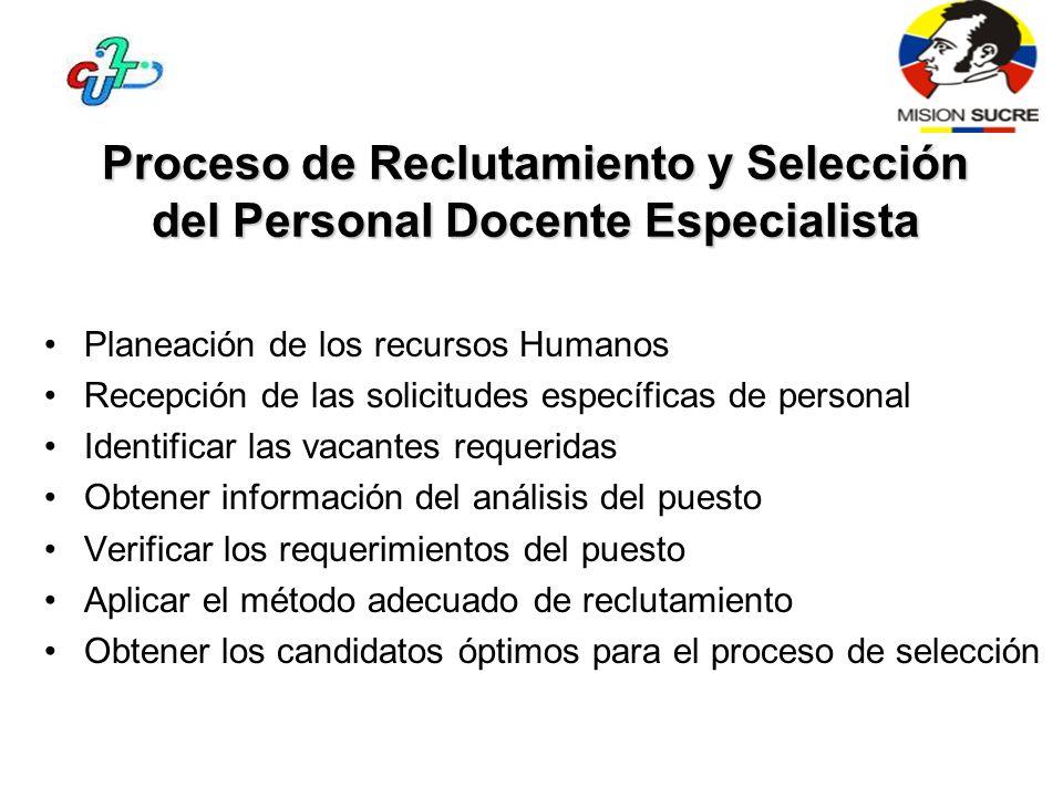 Proceso de Reclutamiento y Selección del Personal Docente Especialista