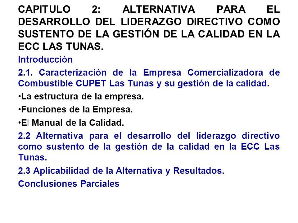 CAPITULO 2: ALTERNATIVA PARA EL DESARROLLO DEL LIDERAZGO DIRECTIVO COMO SUSTENTO DE LA GESTIÓN DE LA CALIDAD EN LA ECC LAS TUNAS.