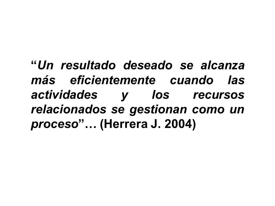 Un resultado deseado se alcanza más eficientemente cuando las actividades y los recursos relacionados se gestionan como un proceso … (Herrera J.