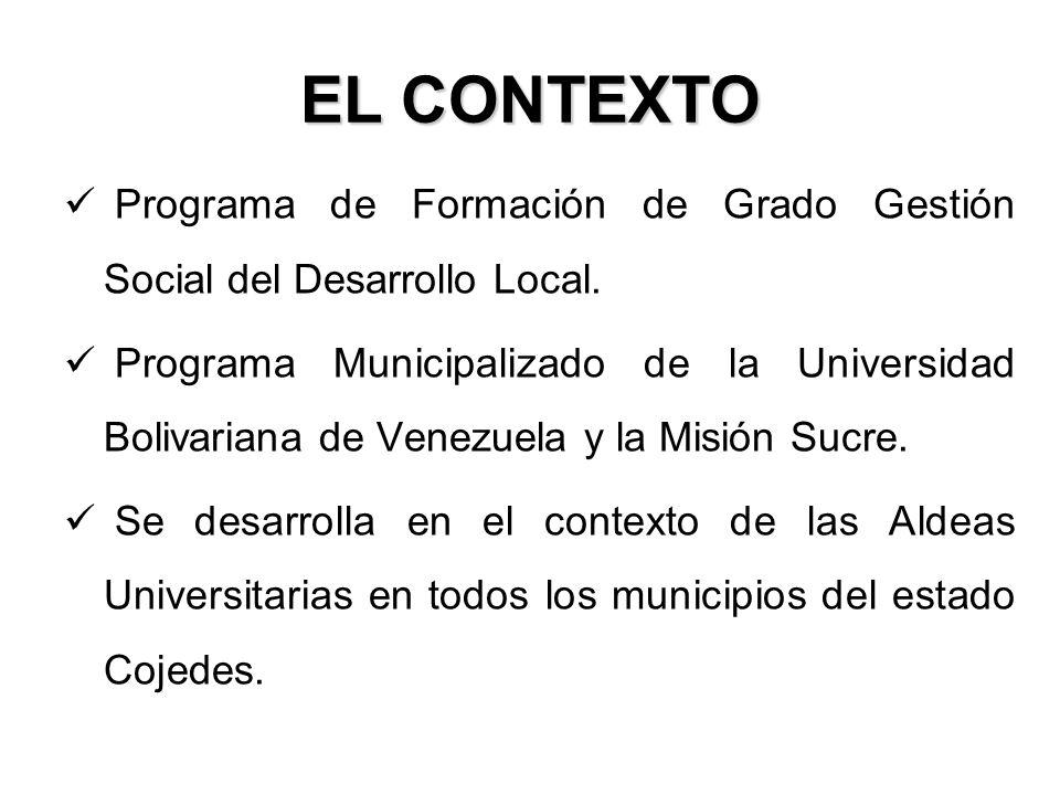 EL CONTEXTO Programa de Formación de Grado Gestión Social del Desarrollo Local.