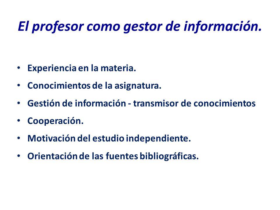 El profesor como gestor de información.