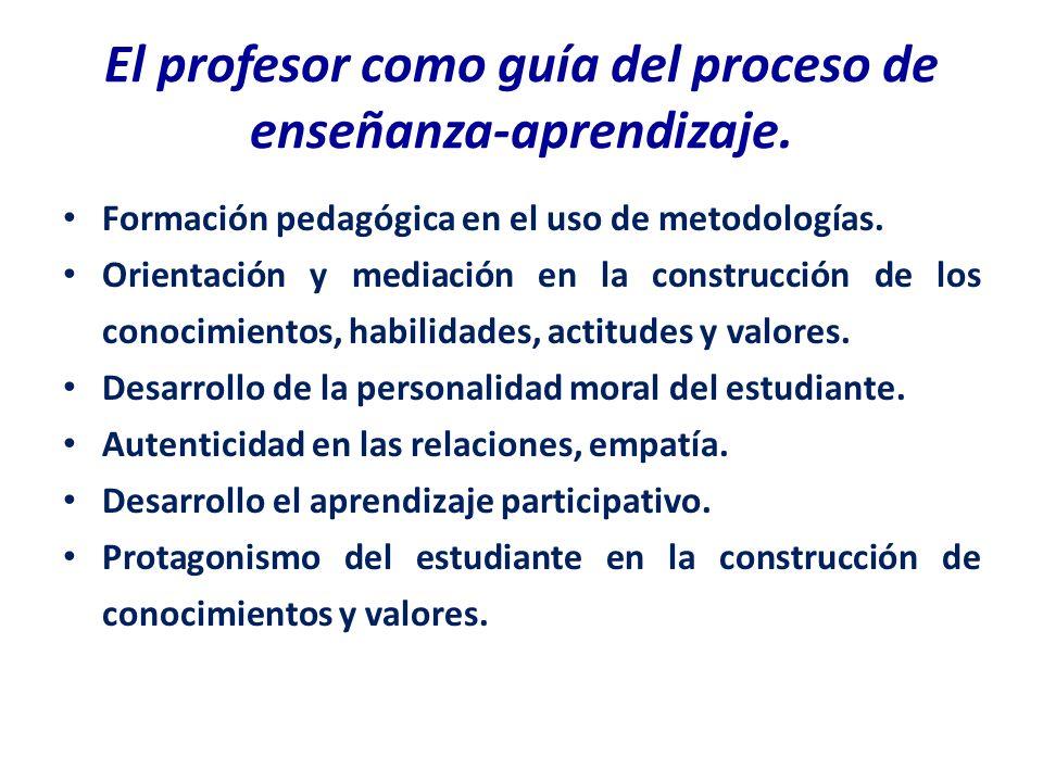 El profesor como guía del proceso de enseñanza-aprendizaje.