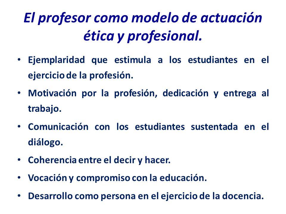 El profesor como modelo de actuación ética y profesional.