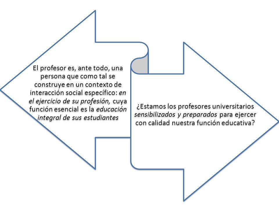 El profesor es, ante todo, una persona que como tal se construye en un contexto de interacción social específico: en el ejercicio de su profesión, cuya función esencial es la educación integral de sus estudiantes