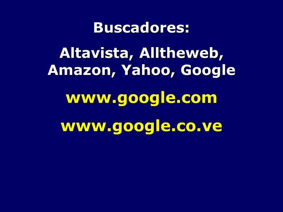 Altavista, Alltheweb, Amazon, Yahoo, Google