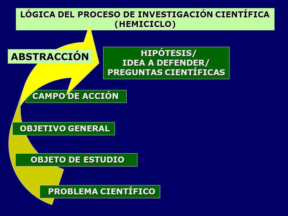 LÓGICA DEL PROCESO DE INVESTIGACIÓN CIENTÍFICA PREGUNTAS CIENTÍFICAS