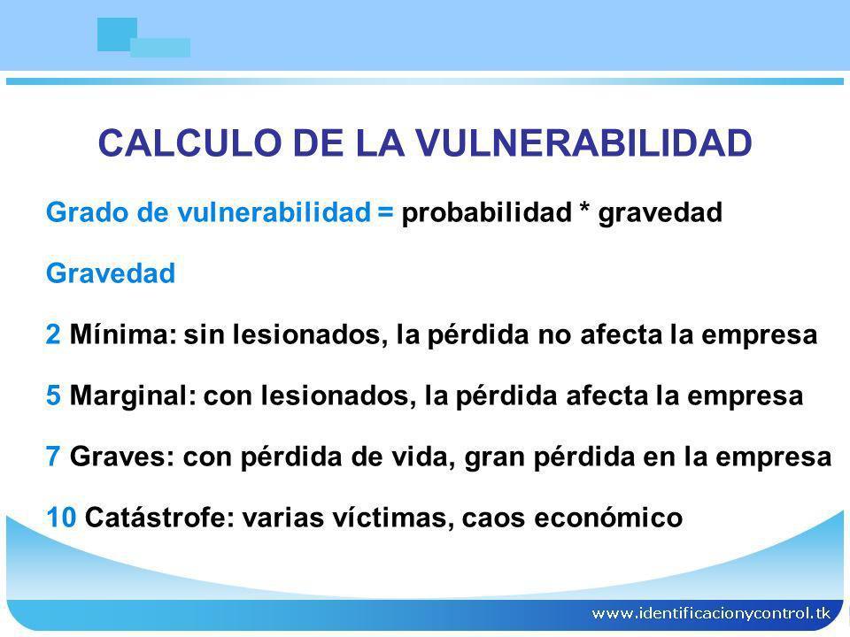 CALCULO DE LA VULNERABILIDAD