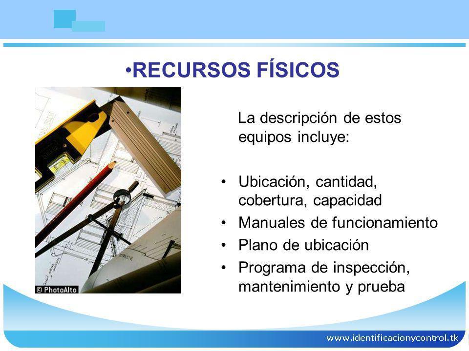 RECURSOS FÍSICOS La descripción de estos equipos incluye:
