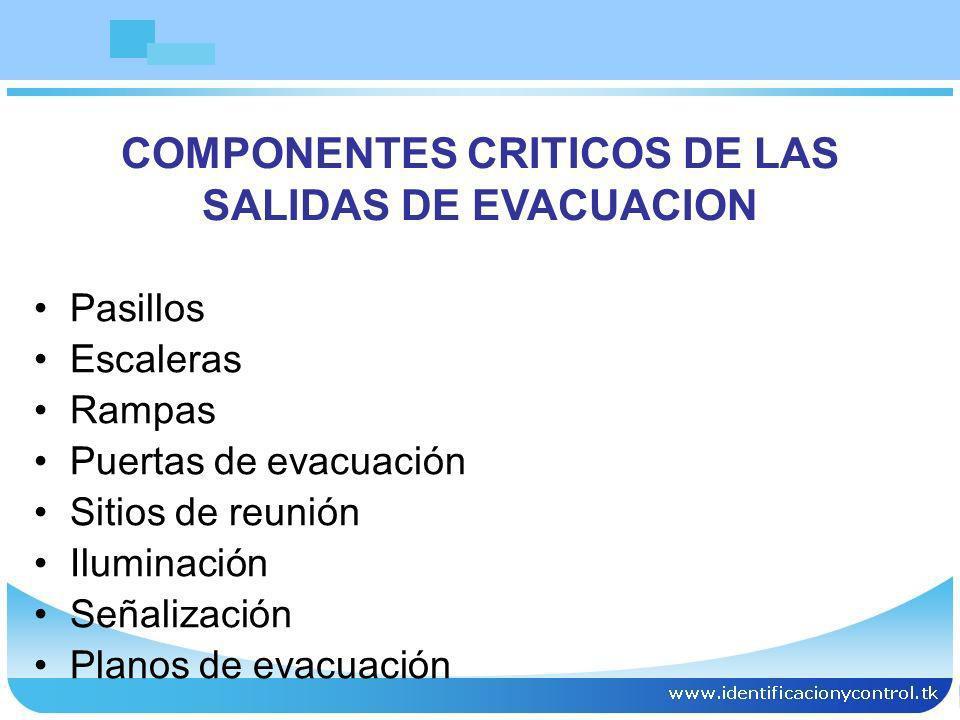 COMPONENTES CRITICOS DE LAS SALIDAS DE EVACUACION