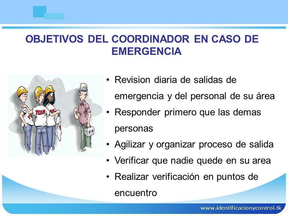 OBJETIVOS DEL COORDINADOR EN CASO DE EMERGENCIA
