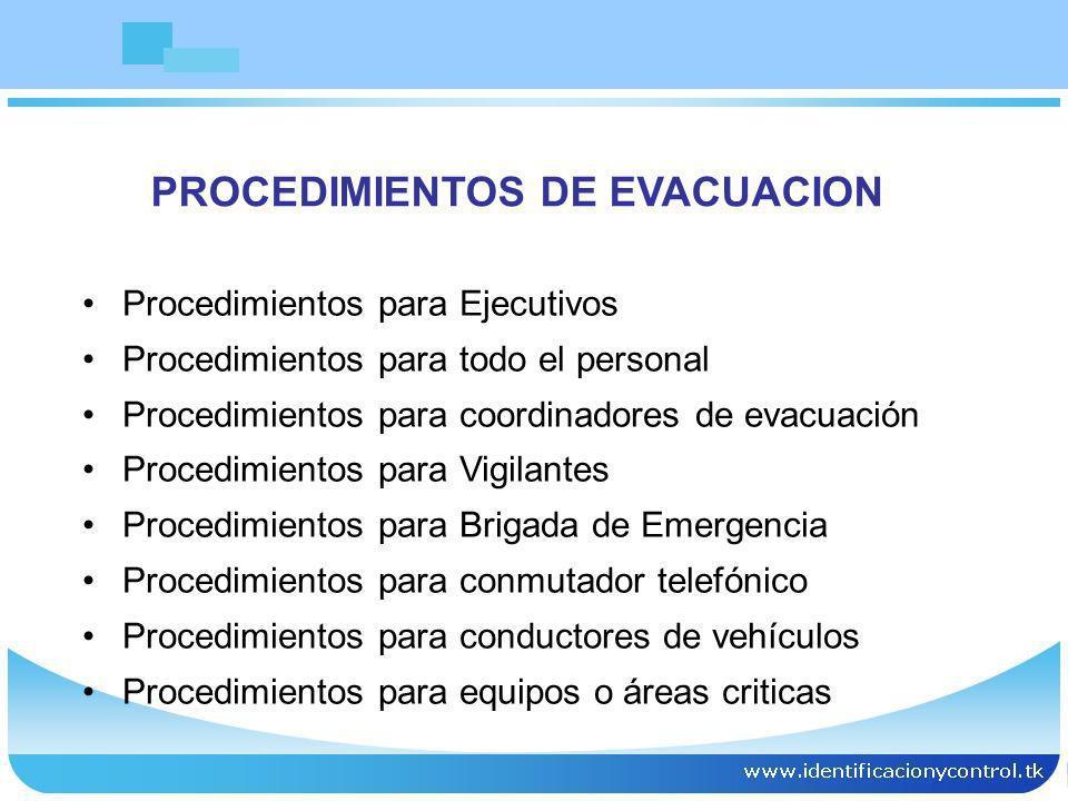 PROCEDIMIENTOS DE EVACUACION