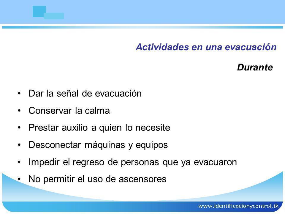 Actividades en una evacuación