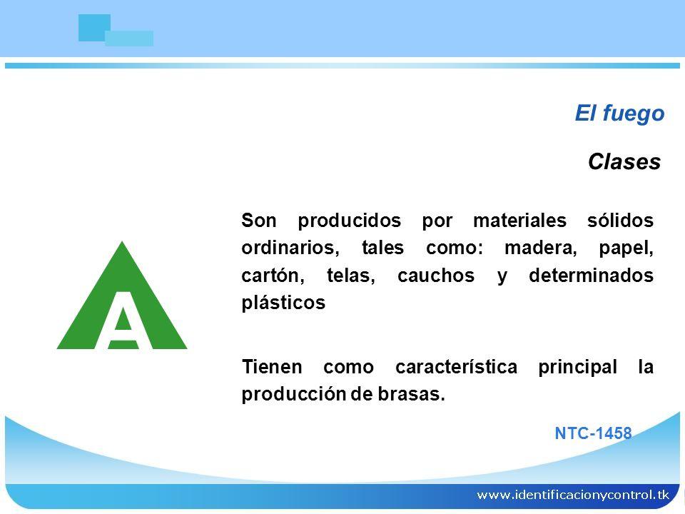 El fuegoClases. Son producidos por materiales sólidos ordinarios, tales como: madera, papel, cartón, telas, cauchos y determinados plásticos.