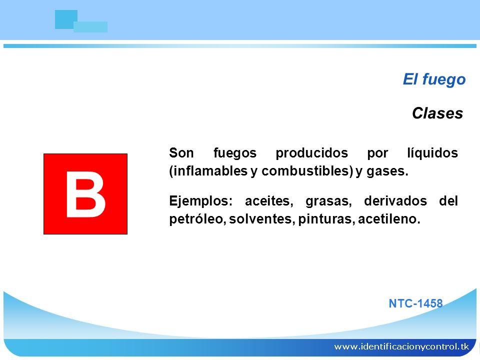 El fuego Clases. Son fuegos producidos por líquidos (inflamables y combustibles) y gases.