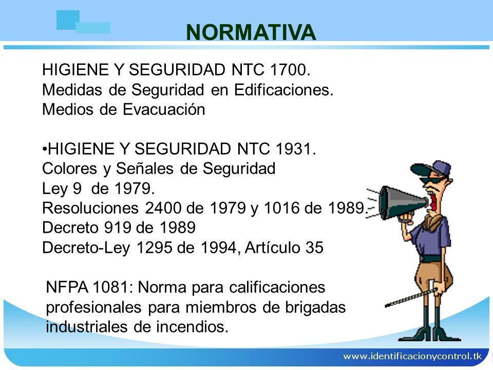 NORMATIVA HIGIENE Y SEGURIDAD NTC 1700.