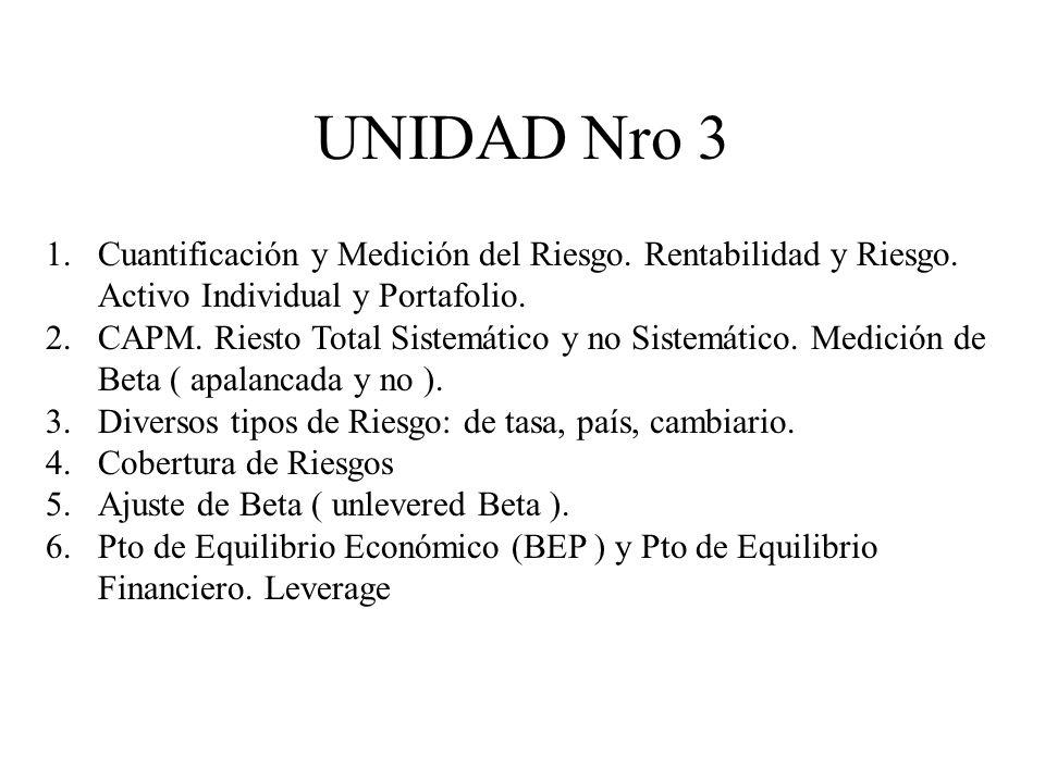 UNIDAD Nro 3 Cuantificación y Medición del Riesgo. Rentabilidad y Riesgo. Activo Individual y Portafolio.