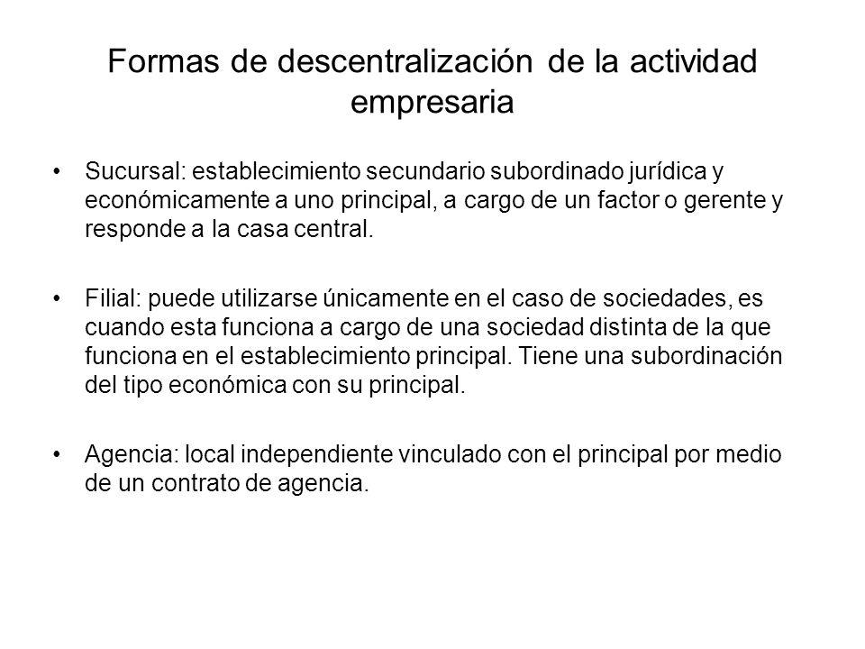 Formas de descentralización de la actividad empresaria