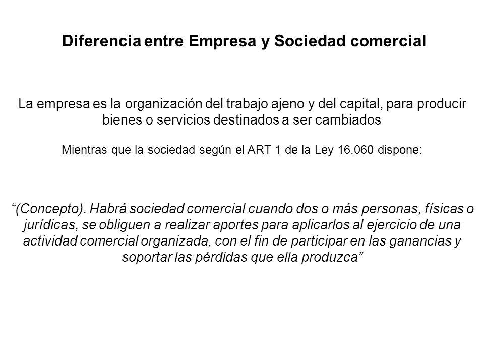 Diferencia entre Empresa y Sociedad comercial